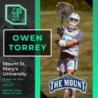 Owen Torrey Class of 2021 Mount St. Mary's University
